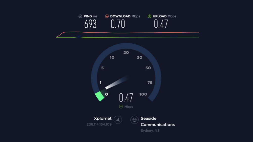 Screenshot of Xplornet speedtest results