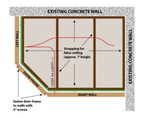 Top-down diagram of the vocal booth ceiling shows framing and wiring