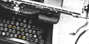 """Backgroubd image of old typewriter for Murrant page titled """"Words"""""""